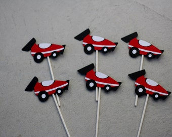 24 Racecar Cupcake Toppers,  Racecar Birthday, Racecar Party, Racecar Decorations