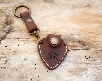 Personalized leather guitar pick holder with Initials and  keychain - fathers day gift