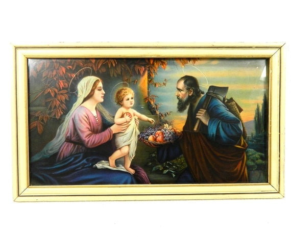 Vintage Framed Picture Of Holy Family Jesus Mary And Joseph