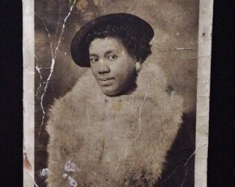 Original Antique Photograph Serene Woman in Unusual Fashion