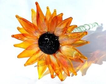 Black Eyed Susan, Lampwork Hand Blown Glass Flowers, Spring Daisies Sun Flower, Flowers Long Stemmed,  Boro SRA