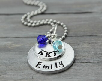 Kappa Kappa Gamma, Necklace, Sorority Necklace, Name Necklace, Kappa Kappa Gamma Jewelry, Sorority Sister Gift, Sorority Jewelry,Handstamped