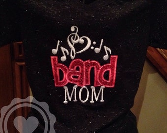 Black Glitter Band Mom Applique Sparkle Tee - Choir Shirt - Music Note Embroidery