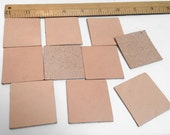 """10pc - Tan Leather Squares  1 3/4"""" - BLANK"""