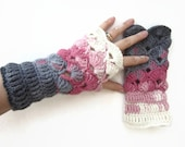 Multicolor Crochet Fingerless Mittens Wrist Warmers Gloves White Grey Black Pink  Winter Accessories Cristmas Gift by dodofit on Etsy