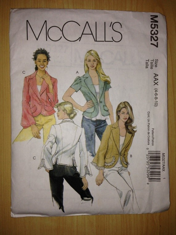 McCalls Sewing Pattern 5327 UNCUT Misses Unlined Jackets Size 4-10