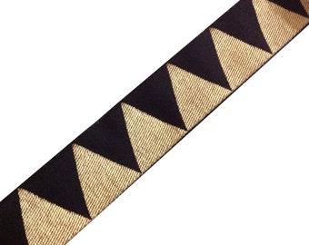 Chevron Pattern Jari Border in Black and Gold Extrawide  Border / Lace / Jacquard Trim /  Sari Lace