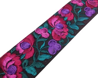Machine Embroidery Border in Black | Pink | Green - Raw Silk Wide Border / Lace /  Embroidered Trim /  Sari Lace