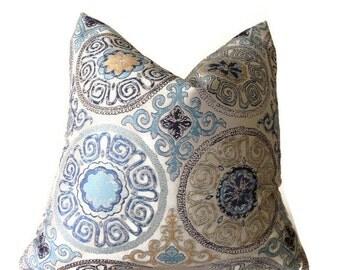 Blue gold pillow Etsy