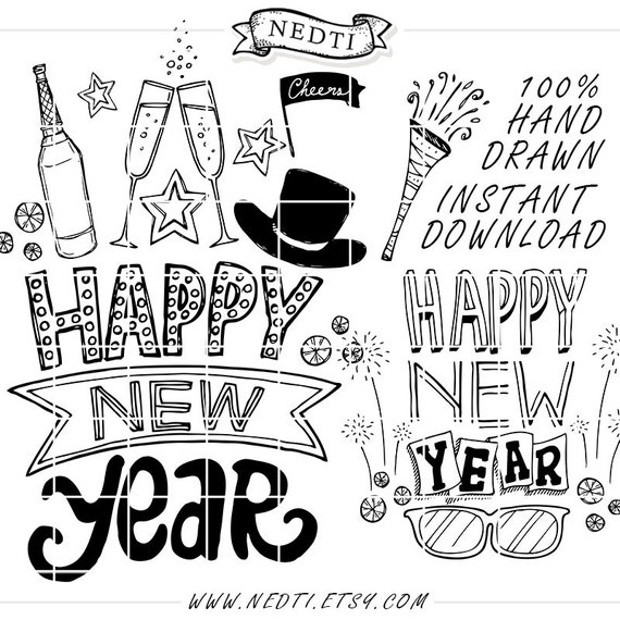 30 Happy New Year Hand Drawn Lineart Clip Art Clipart Photo