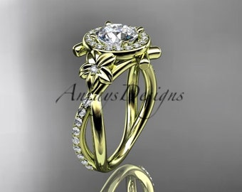 """14kt yellow gold diamond leaf and vine wedding ring, engagement ring with a """"Forever One"""" Moissanite center stone ADLR89"""