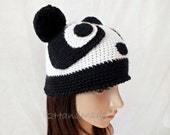 Crocheted Animal costume Hat Panda Ear Pom Poms Cap Black White wool Teddy Bear Unisex Boys Girls Teens Adult funny silly