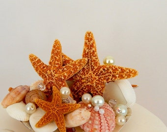 Wedding Cake Topper- Starfish, Seashell, Pearls Cake Topper- Ready To Ship