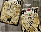 Birthday Party Invitation Printable Medieval Heraldic Invitations Fifty (any age) Vintage Rustic Party Invites with deer and crest banners