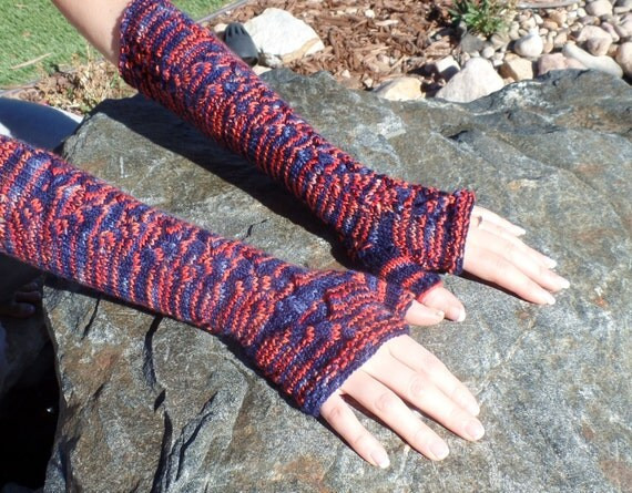 Knitting Pattern Gauntlet Gloves : Knit fingerless glove knitting PATTERN gauntlets arm length