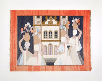 Vintage Large Signed Brazilian Hand Loomed Tapestry By Artist Eila - Mid Century