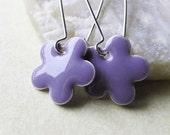 Dangle Drop Earrings - Lavender Purple Epoxy Enamel Flowers - Sterling Silver Plated over Brass (F-2)
