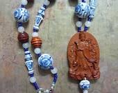 "Necklace, Chinese Goddess, White Jade, Wood, Ceramic, Tassle, Carved,  Handmade, Present, 22"" long"