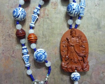 "Necklace, Chinese Goddess, White Jade, Wood, Ceramic, Tassle, Carved,  Handmade, Present, 22"" long"