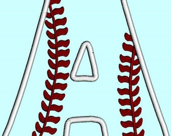 Baseball Letter A  Applique INSTANT DOWNLOAD  Embroidery Design Pattern