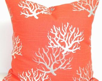 CORAL PILLOW.24x24 Inch Decorative Pillow Covers.Housewares.Home Decor.Lake.Lakehouse.Ocean.Grey.Gray.Coral.Cushion.Beach.Coral.Salmon.Beach