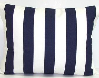 BLUE PILLOW.12x16 or 12x18 inch Decorative Lumbar Pillow Cover.Housewares.Home Decor.Blue Pillow.Blue Cushion Cover.cm.Stripe.Navy Pillow