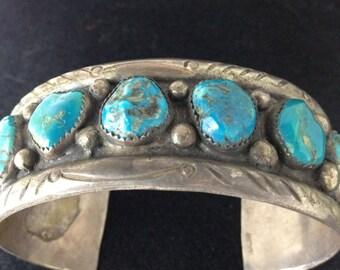 Men's Vintage Native American Bracelet 1970 or 1960, Signed