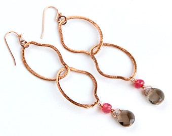 Smoky Quartz Earrings - Copper, Raspberry Pink Chalcedony, Long Statement Earrings