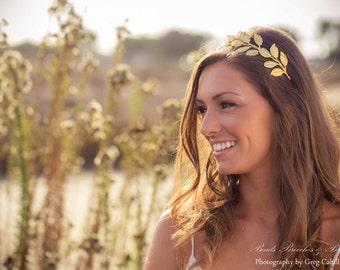 Greek Gold Leaf Headband, Large Grecian Leaf Headband, Gold Leaf Crown, Large Gold Leaf Tiara, Wedding Headband, Gold Brass Leaf Headband