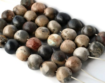 8 Large organic, earthy pitfired beads from South Africa, handmade beads, black, brown, earthy beads