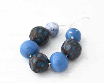 7 Handmade Beads from South Africa, Clay Beads, Blue beads