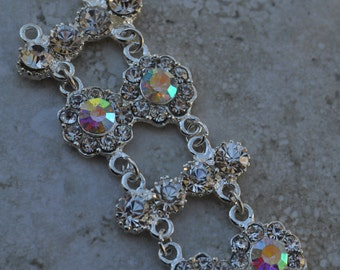 Silver Plated Chain With Clear AB Crystals