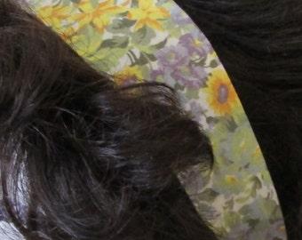 Yellow and Lavender Flowers Fabric Headband