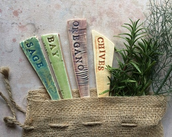 4 Ceramic Garden Marker Herb Mix Gift Bag (Ready To Ship)