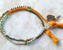 Tassel bracelet, seedbead bracelet, minimalist jewelry, friendship bracelet