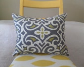 Gray, White, and Citrine Ikat Damask Zippered Pillow Cover