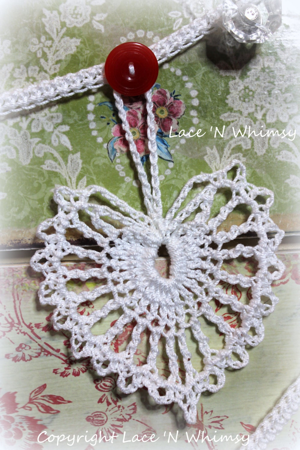 Easy Crochet Pattern Vintage Lace Heart Doily by LaceNWhimsy