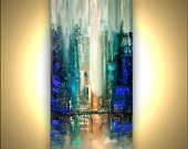 """Modern 30"""" x 15"""" ORIGINAL City Acrylic Painting Teal, Blue, Green  Modern Palette Knife Acrylic Abstract by Osnat Tzadok"""