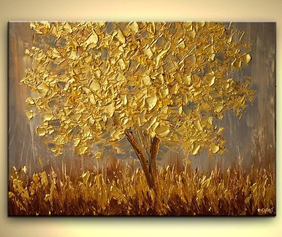Golden Landscape Painting Gold Modern Palette Knife Acrylic