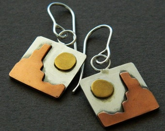 "Mixed metal jewelry ""Sunlit Spires"" mixed metal earrings"