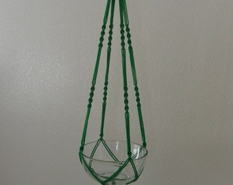 """Hand Crafted Macrame Plant Hanger- Bright Green 42""""-45"""" (Available in all colors)"""