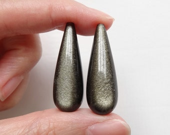 A+ grade Shimmery Gold Obsidian Half Top Drilled Fat Teardrops 10x30 mm  One Pair Perfect for Earrings K6300