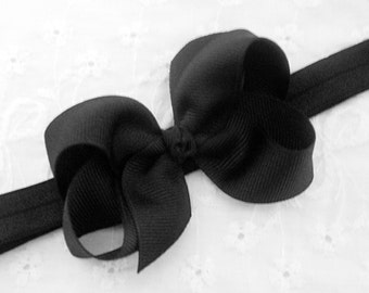 SALE-Black Baby Headband Classic Black Headband Black Bow Headband Newborn Headband Black Baby Bow Headband Infant Toddler Headband Black