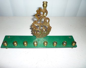 Vintage Judaica brass Chanukah Menorah by Oppenheim, Israel with carved flames & Nays Gadol Hayah Shum (in Hebrew)for Shamesh
