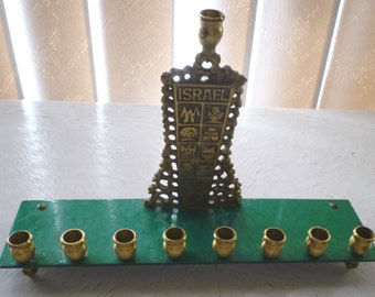 Vintage Judaica brass Chanukah Menorah by Oppenheim, Israel  with Lost Tribes symbols
