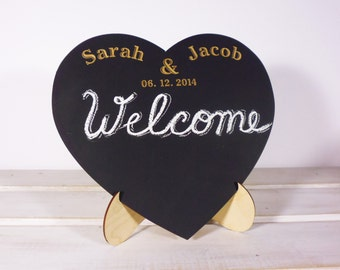 Personalized Chalkboard with Stand Easel Heart Chalk Board Rustic Wedding Decor or Wedding Gifts Home Decor for Newlyweds