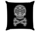 Sugar Skull and Cross Bones in Black and White - Illustration Sofa Throw Pillow