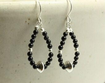 Onyx and Silver Loop Earrings, Dangle Earrings, Southwestern Earrings, Southwestern Jewelry, Black Earrings, Sterling Silver