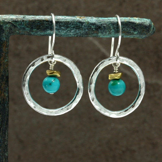 Turquoise and Hammered Silver Earrings, Southwestern Jewelry, Southwestern Earrings, Silver Hoop Earrings, Turquoise Earrings