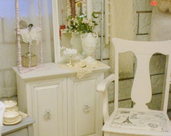 Vintage Arm Chair White Distressed Paint Shabby Chic French Cottage Country Chic
